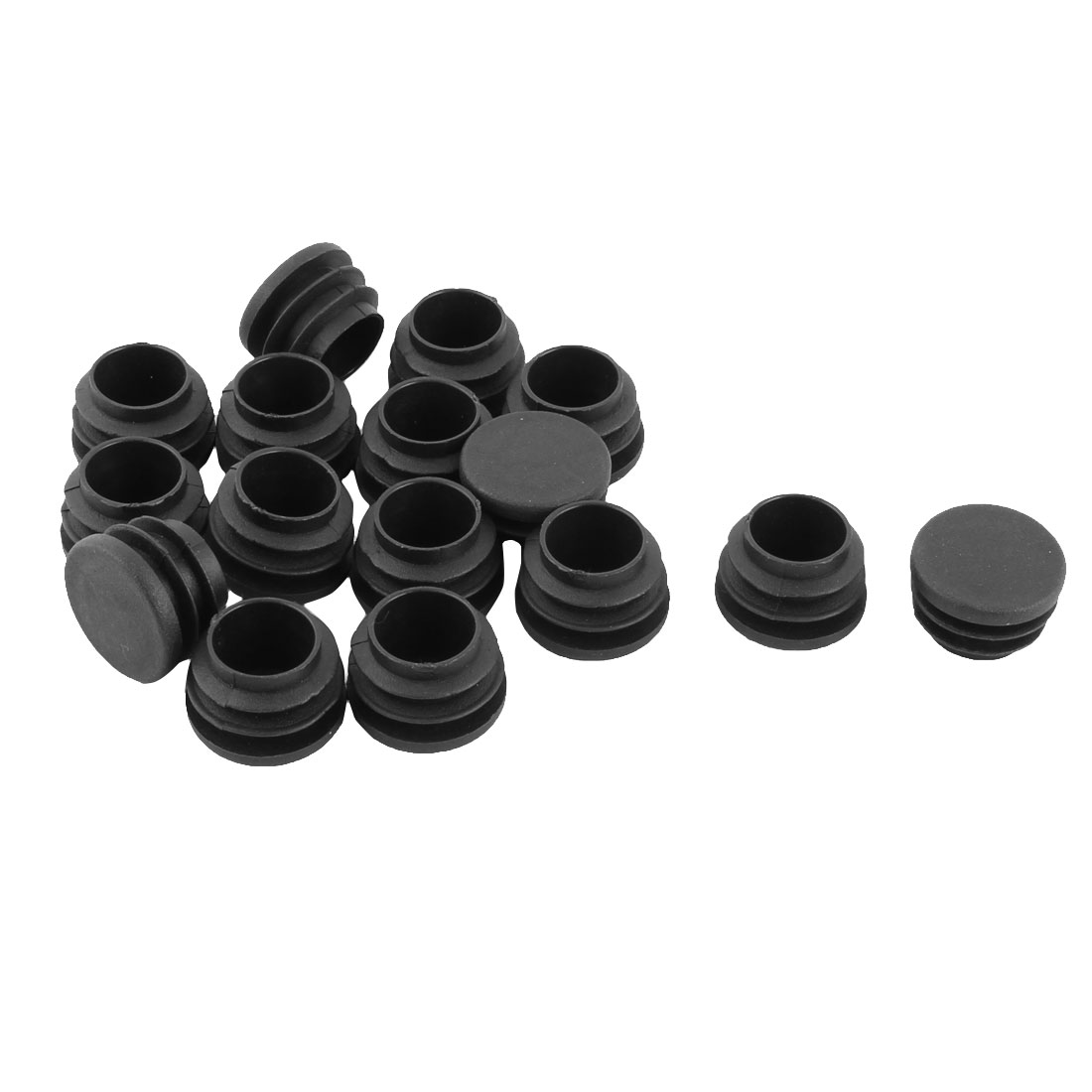 Plastic Round Flat Type Table Chair Leg Protector Cover Caps Tube Insert Black 25mm Dia 16pcs