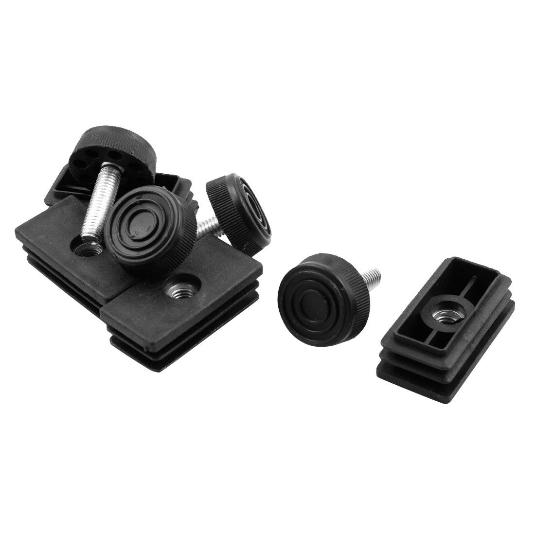 Home Metal Sofa Desk Leg Leveling Adjuster Tube Insert Black 25 x 50mm 4 Sets