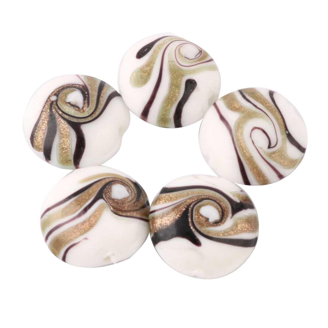 Jewelry Making Craft Flowering Prints Loose Bead DIY Bracelet 20mm Dia 5pcs