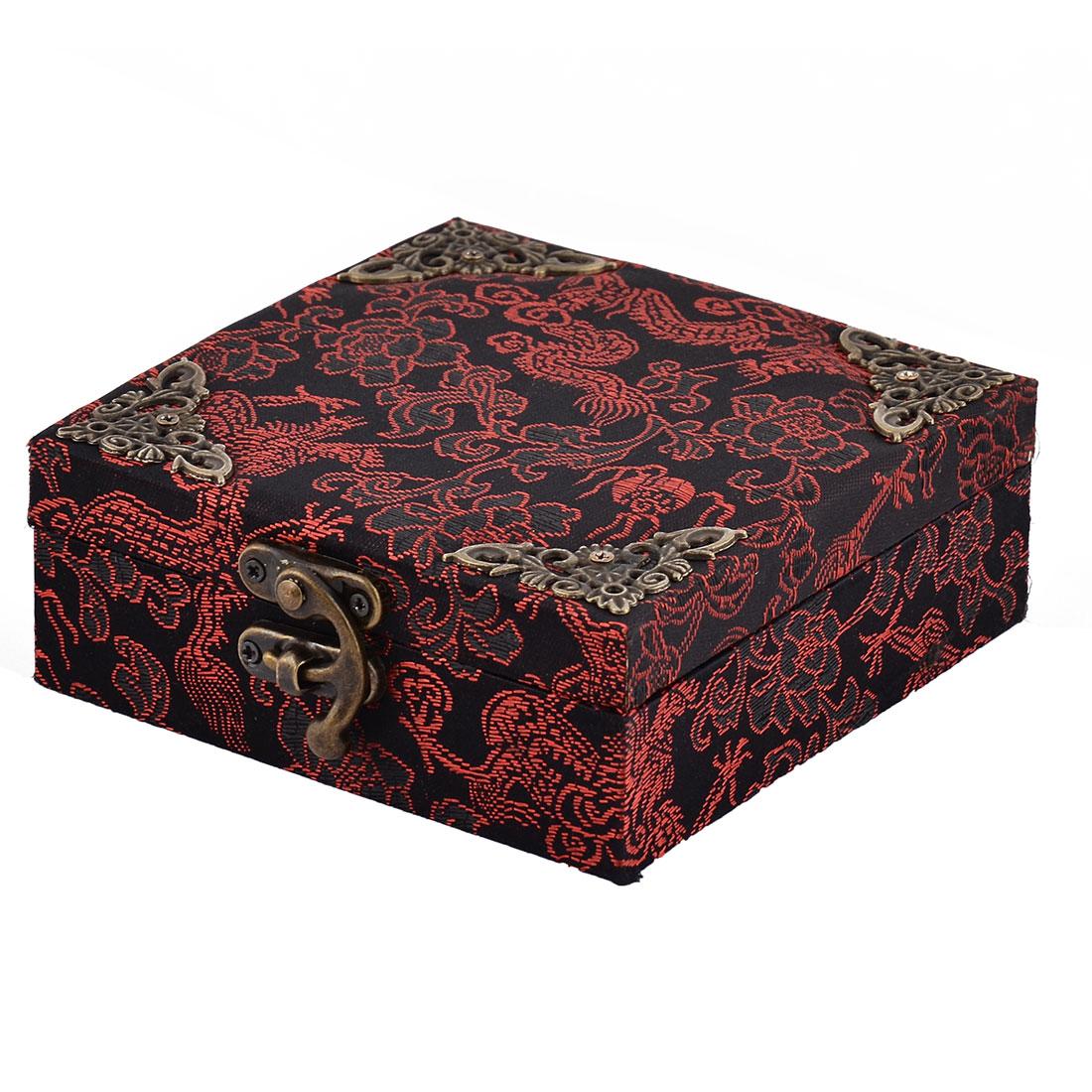 Travel Wood Flower Pattern Retro Style Jewelry Collection Locked Box Organizer
