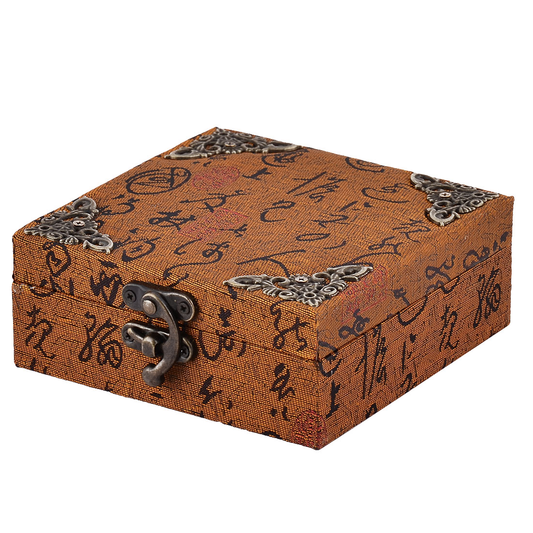 Home Wooden Vintage Style Ring Jewelry Candy Collection Locked Box Organizer