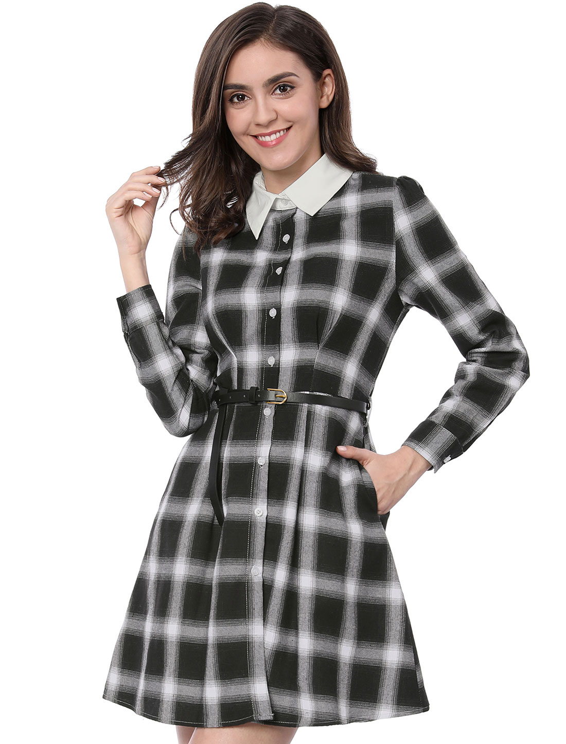 Allegra K Women Contrast Collar Belted Above Knee Plaid Shirt Dress Black M