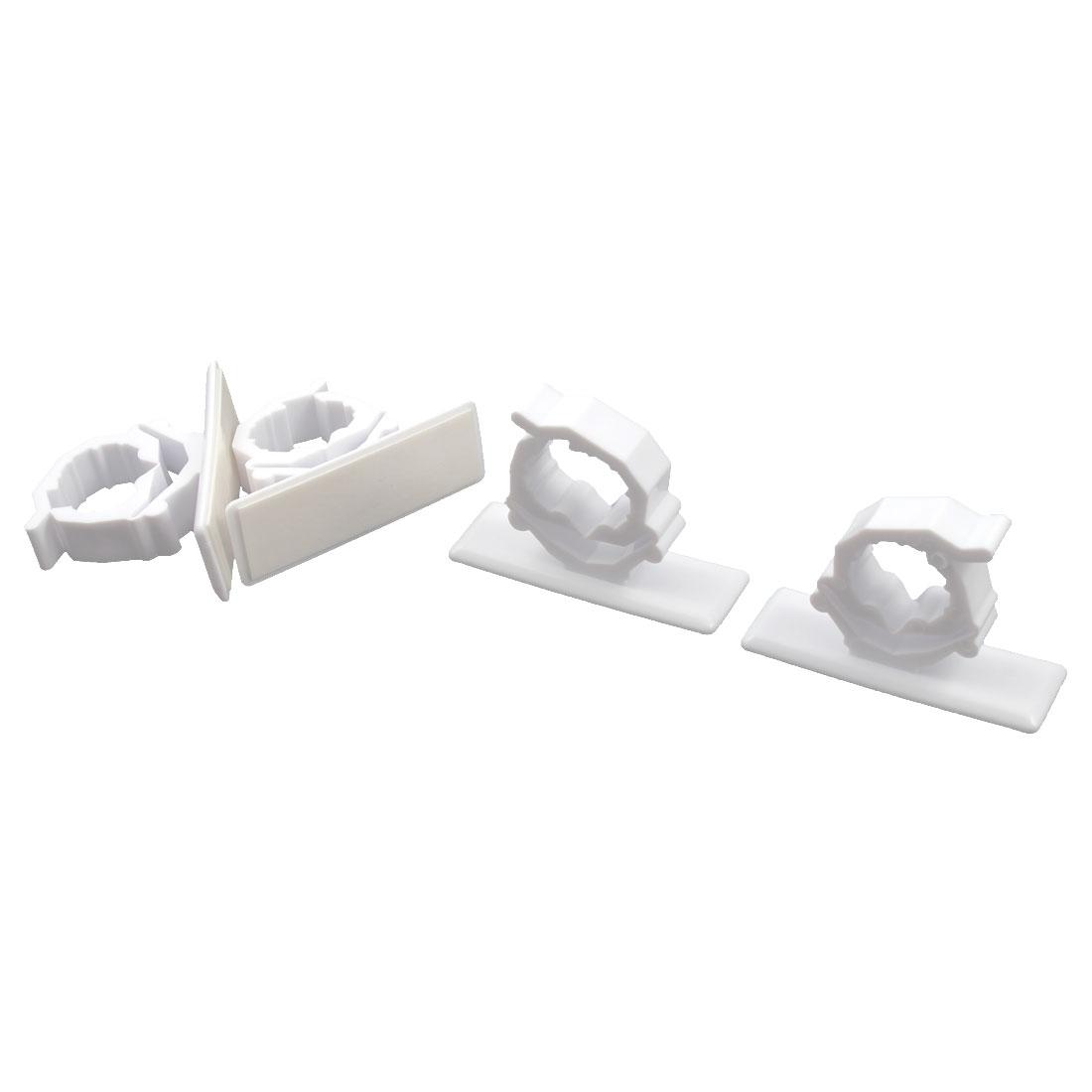 Plastic Paste Strap Wire Cable Fixer Saddle Clip Fastener Holder White 4 PCS