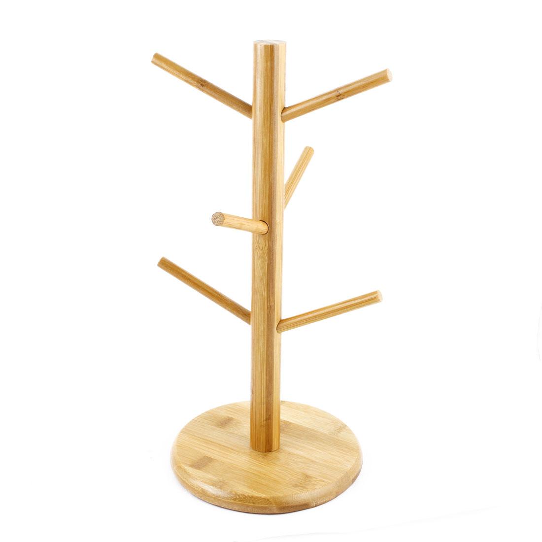 Household Bamboo Hanging Display Coffee Tea Glass Cup Holder Bracket Mug Tree