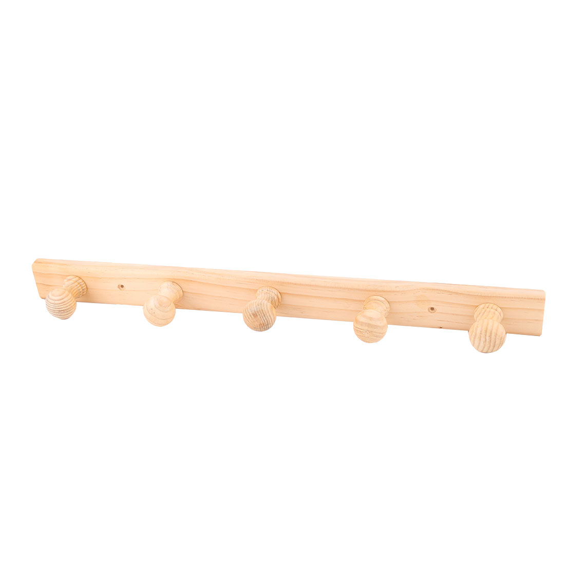 Household Bathroom Wooden 5 Hooks Wall Mounted Towel Clothes Hanging Rack