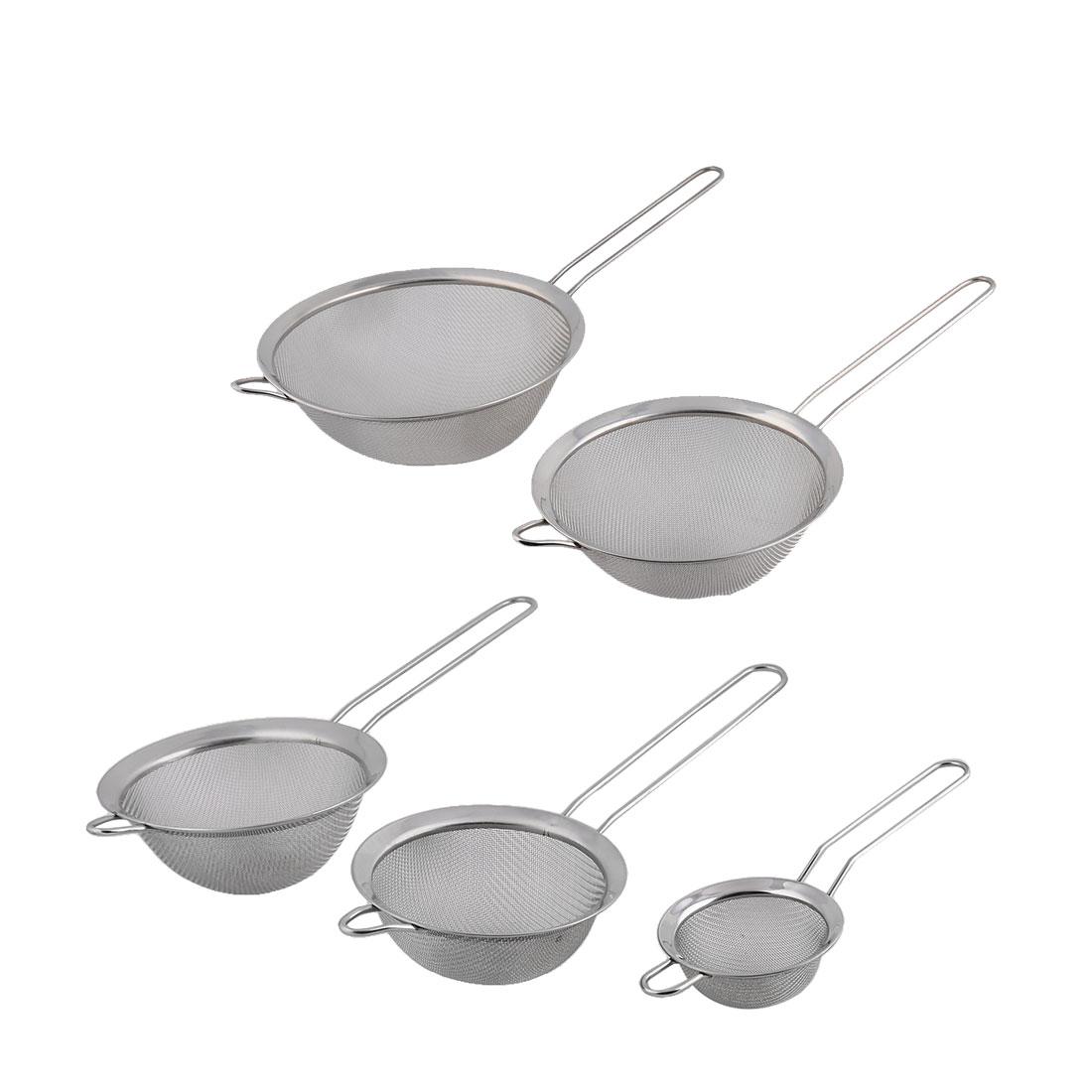 Kitchen Cookware Chef Metal Oil Flour Mesh Strainer Colander Sieve Sifter 5 in 1