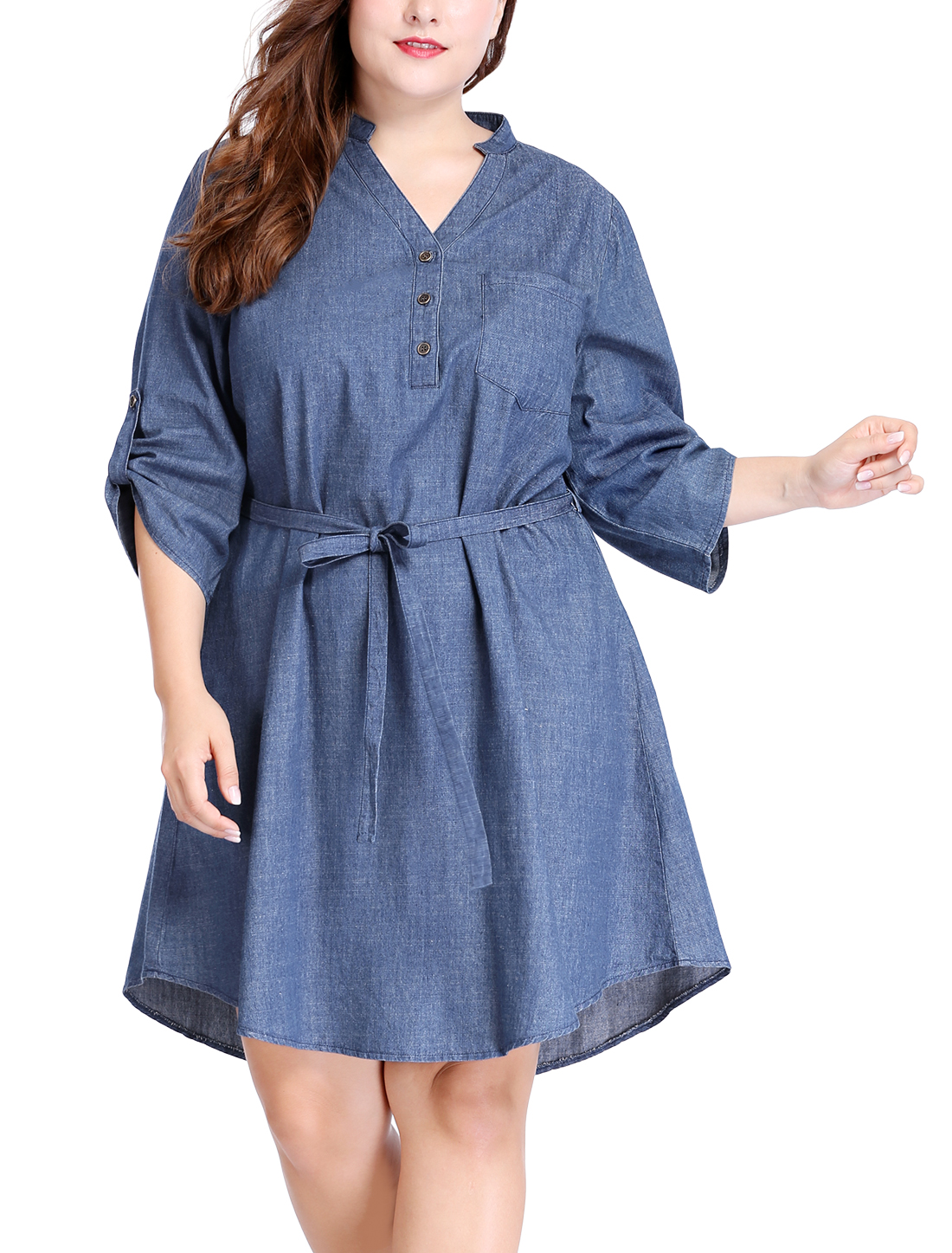 Women Plus Size Roll Up Sleeves Above Knee Belted Denim Dress Blue 1X