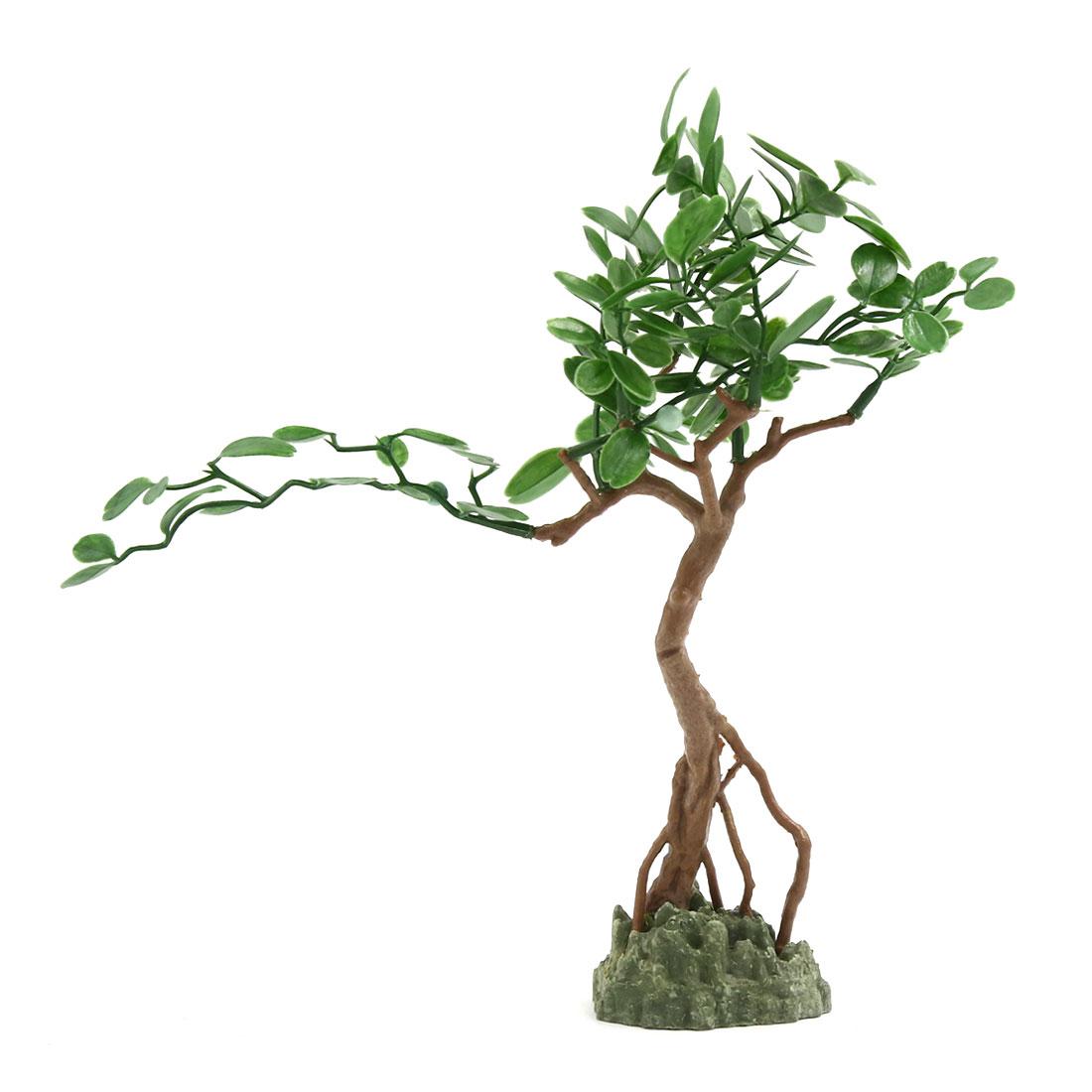 Aquarium Fish Tank Green Artificial Tree Design Ornament 23x6x29cm