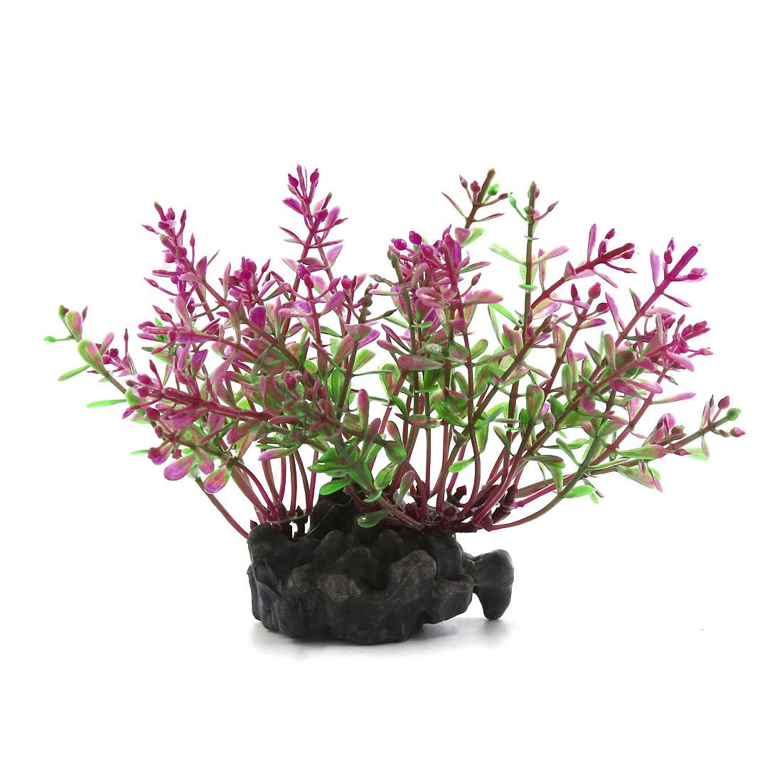 Aquarium Artificial Purple Leaves Plants Ornament For Fish Tank 10x3x11cm