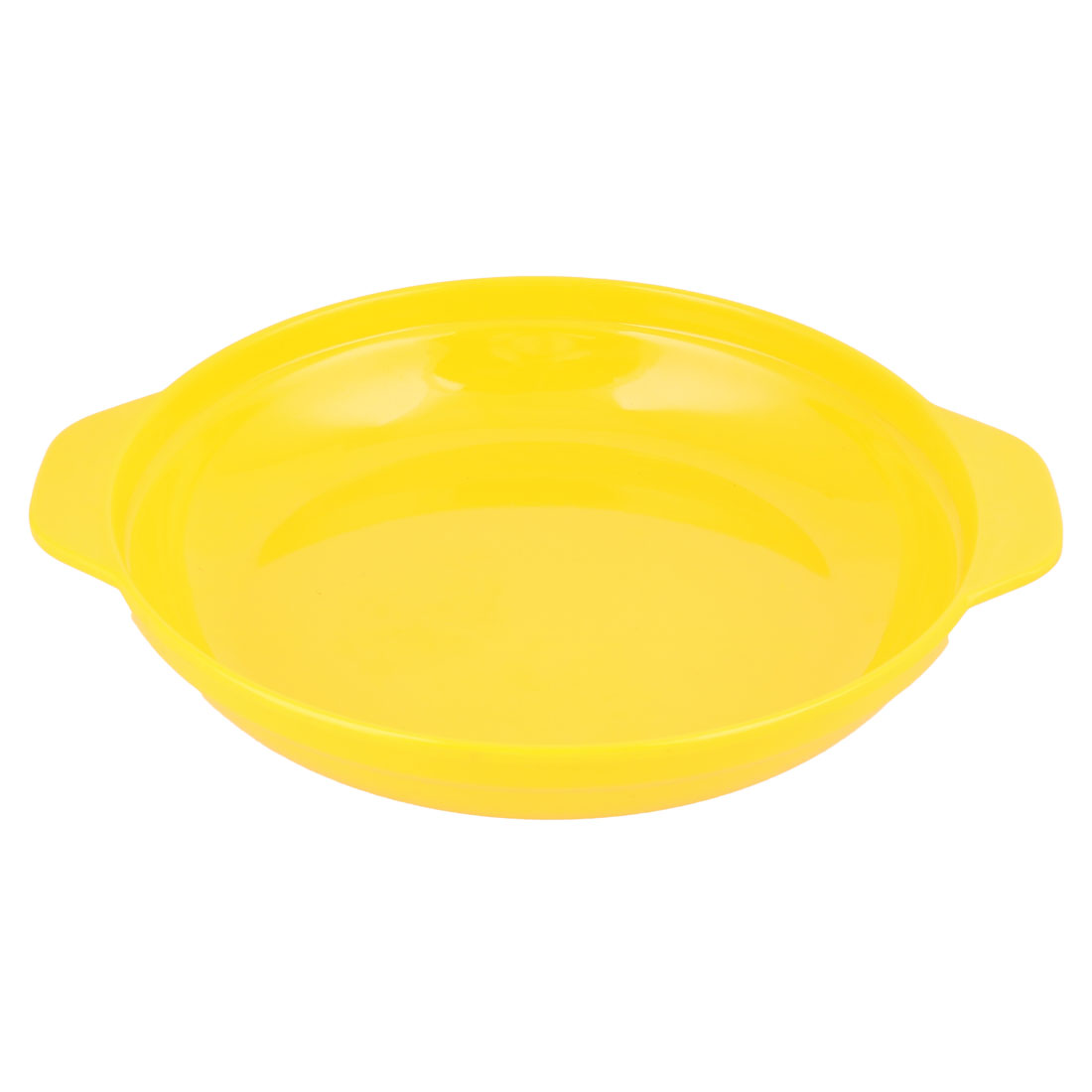 Home Kitchen Plastic Double Ear Design Food Vegetables Holder Plate Tray Yellow