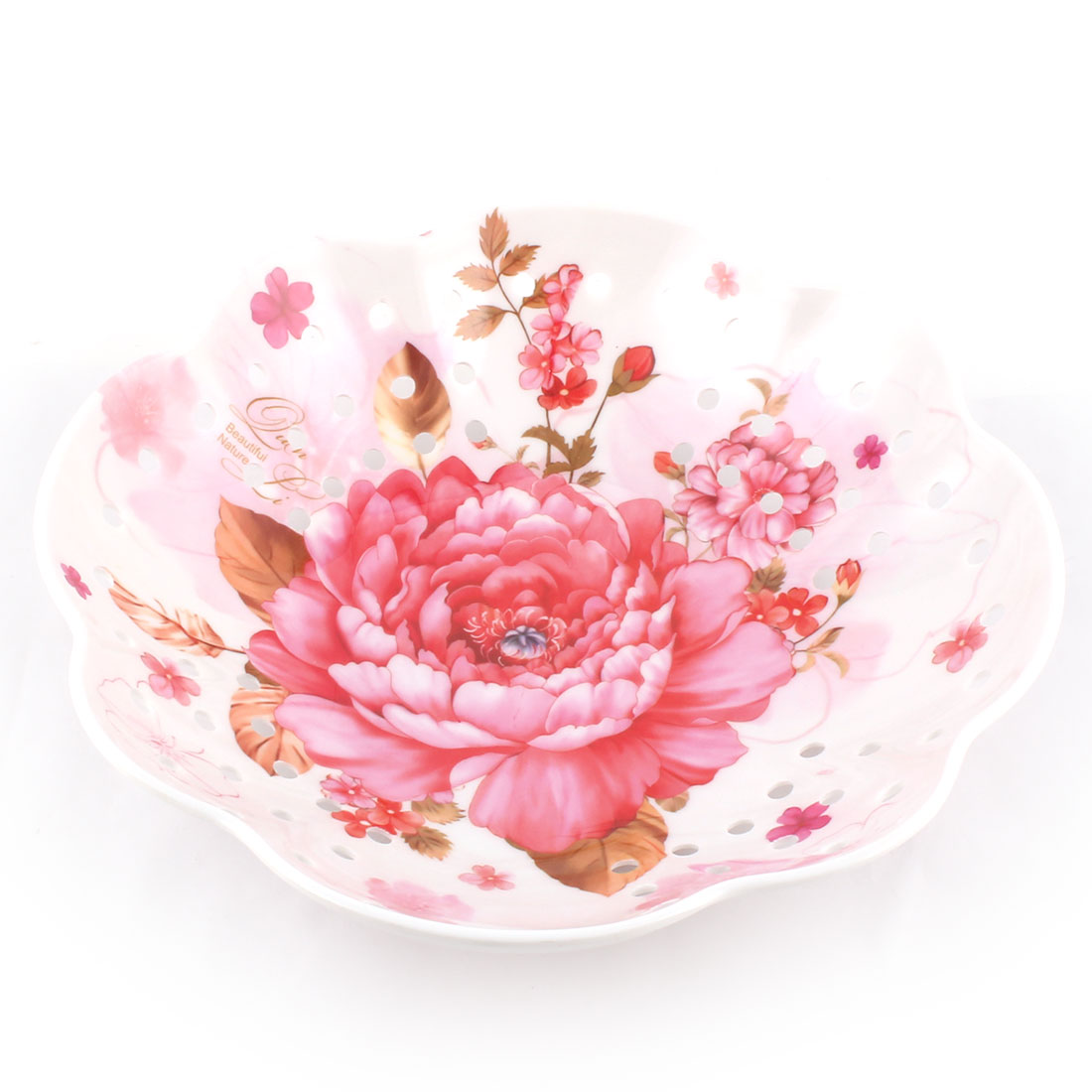 Home Melamine Flower Shaped Peony Print Table Decor Candy Fruit Plate Colorful