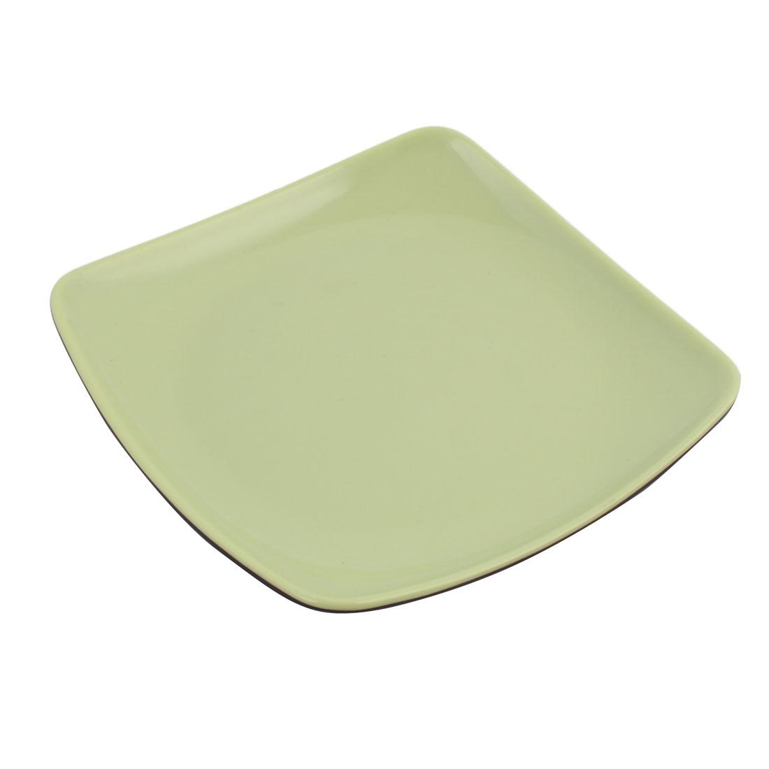 Kitchen Plastic Square Dinnerware Food Vegetable Dish Plate Green 19cm x 19cm