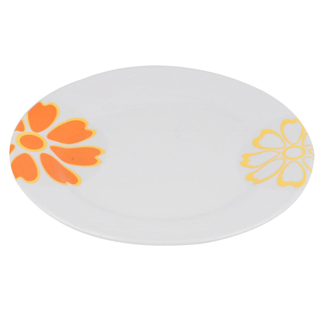 Kitchen Plastic Round Shaped Food Fruit Dessert Storage Plate Tray Dish Orange