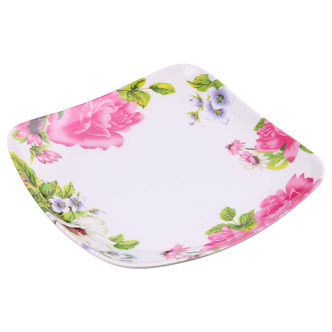 Kitchen Plastic Square Shaped Flower Pattern Food Dessert Plate Tray Fuchsia
