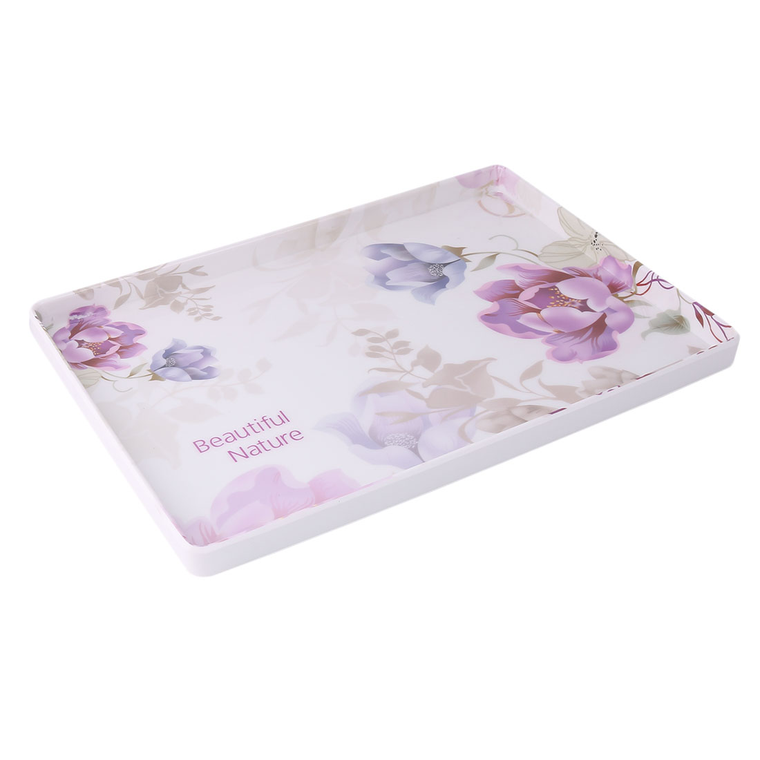 Family Kitchen Plastic Floral Print Rectangle Shaped Cup Plate Served Tray