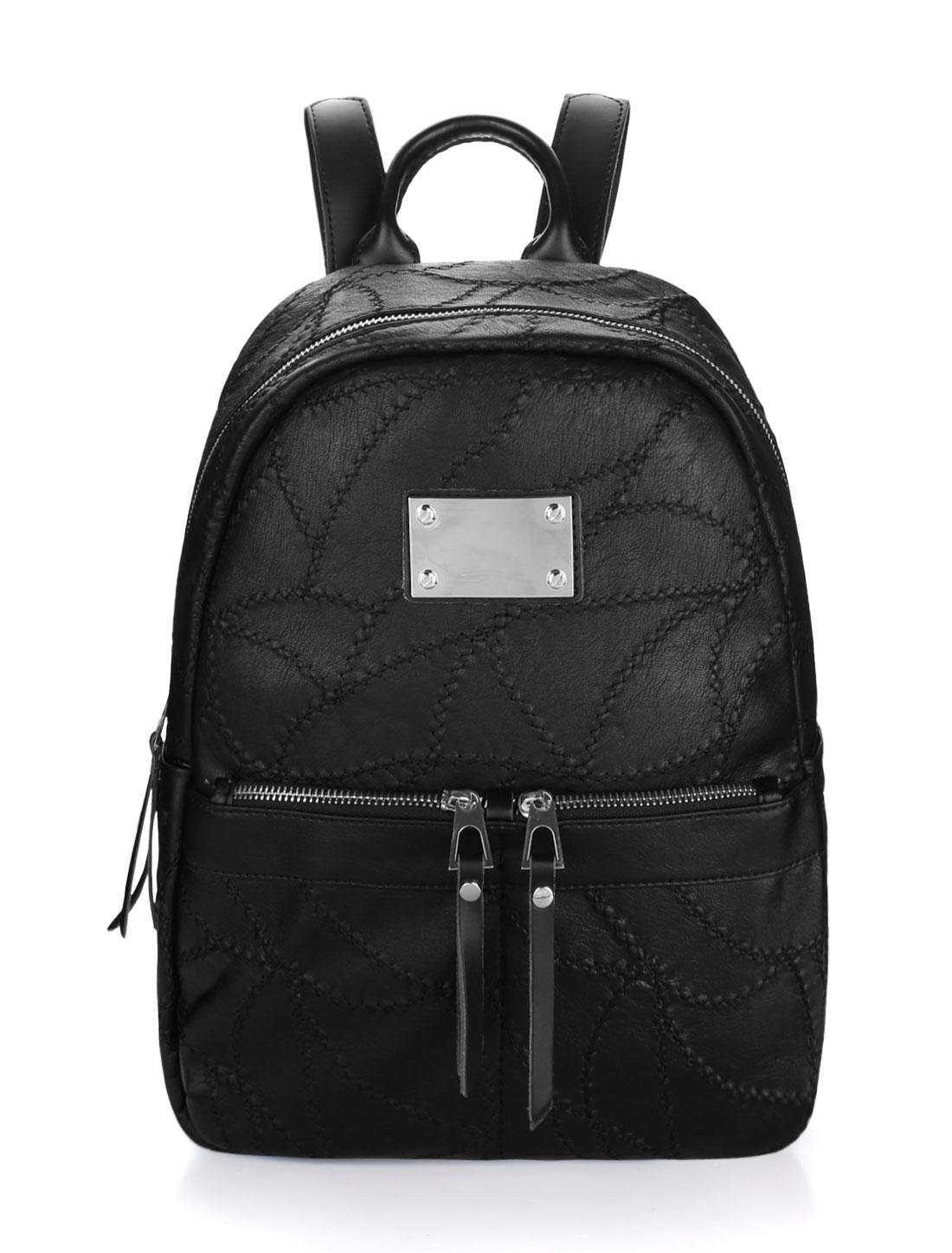 Women Adjustable Straps Stitched Zipper PU Backpack Black