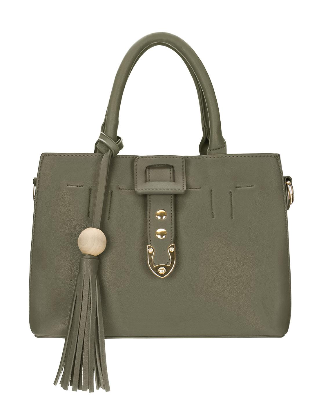Women Removable Pouch Zip Closure Top Handle PU Handbag Green