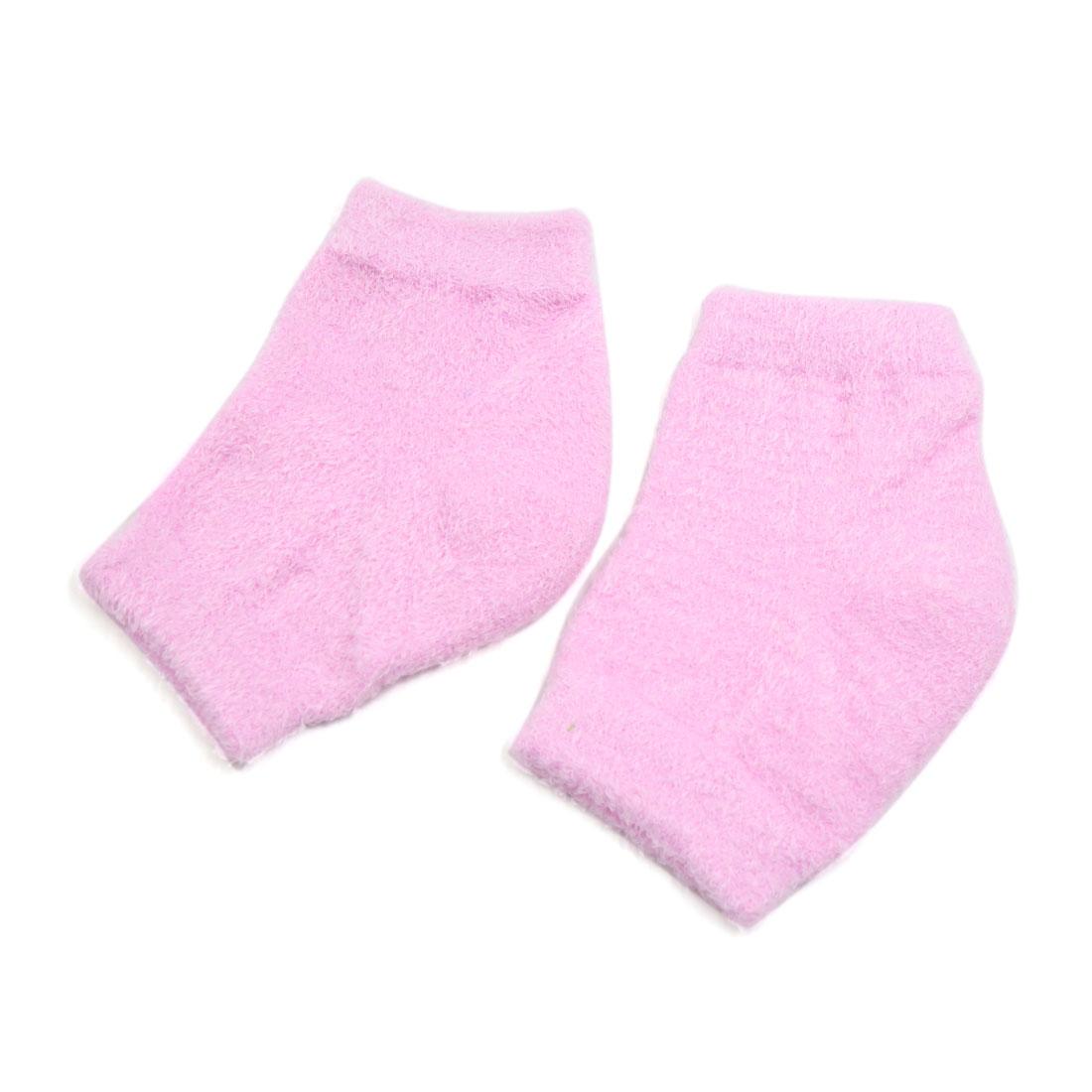 Pink Open Toe Moisturizing Exfoliating Dry Skin Recovery Gel Heel Socks 1 Pair