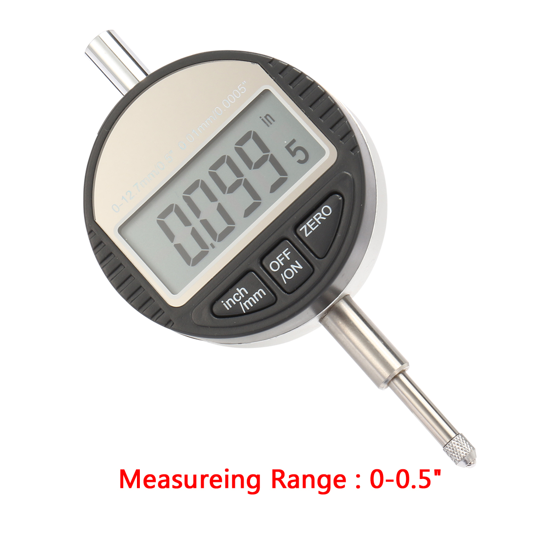 Electronic Digital Indicator Gage Gauge Inch/Metric Conversion 0-0.5 Inch/12.7 mm with Back Lug