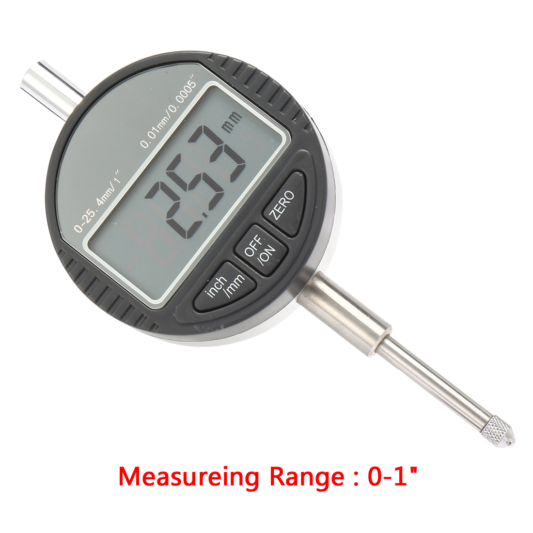 Electronic Digital Indicator Gage Gauge Inch/Metric Conversion 0-1 Inch/25.4 mm with Back Lug