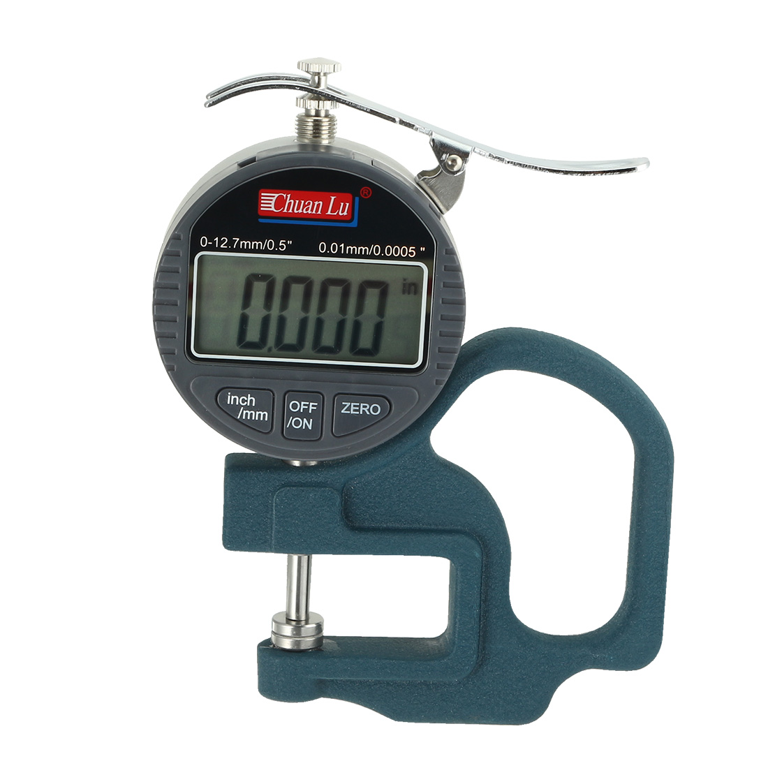 "Digital Thickness Gage 0-0.5"" Range 0.0005"" Resolution +/-0.001"" Accuracy"