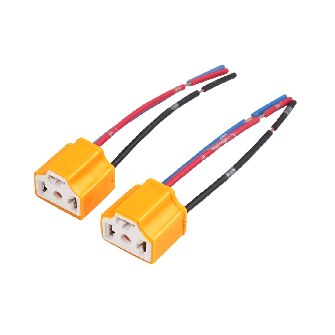 2 Pcs Yellow Car Ceramics H4 Headlight Connector Lamp Bulb Socket Harness
