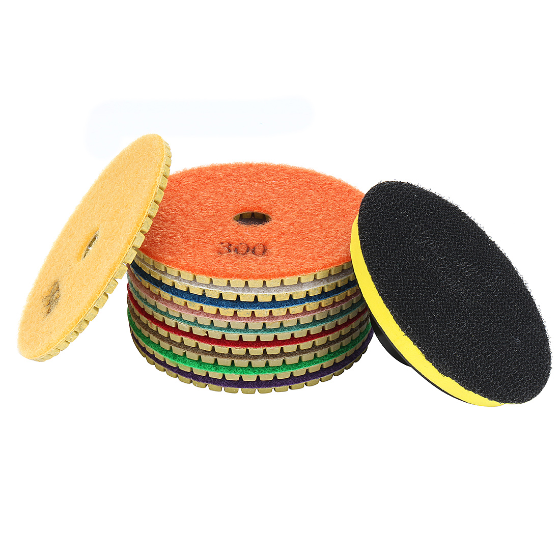 "4"" Diamond Wet Polishing Pads Disc 10 in 1 for Granite Concrete Marble"