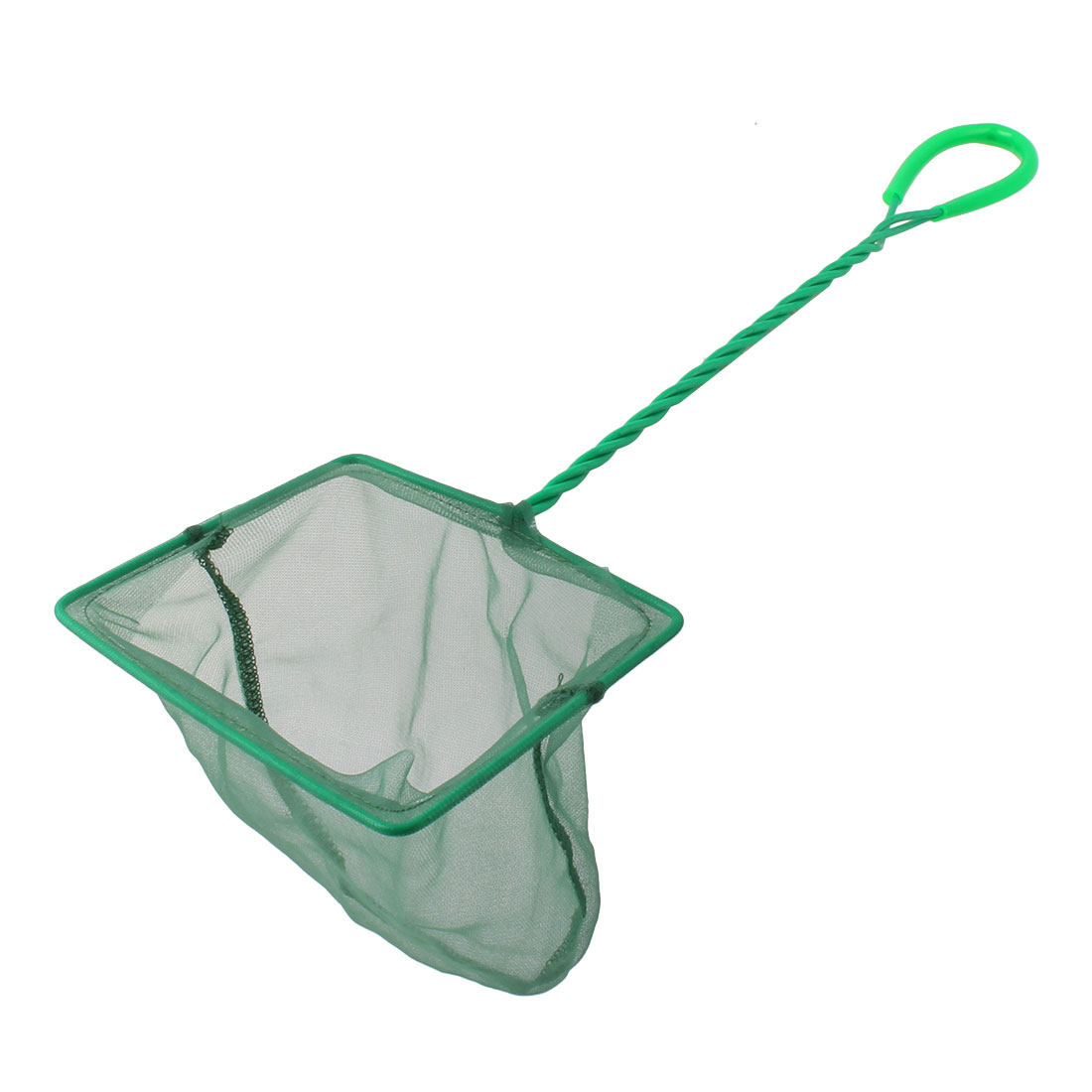 Aquarium Fish Tank Nylon Nonslip Rectangular Shaped Long Handle Mesh Fishing Net Green