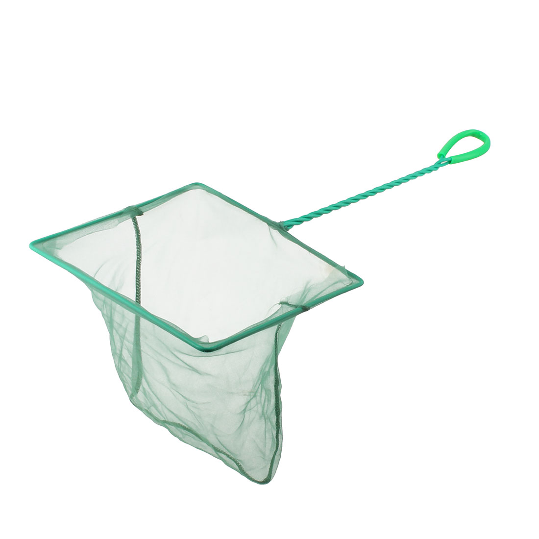 Aquarium Fish Tank Plastic Coated Handle Rectangular Shaped Mesh Fishbowl Fishing Net Green