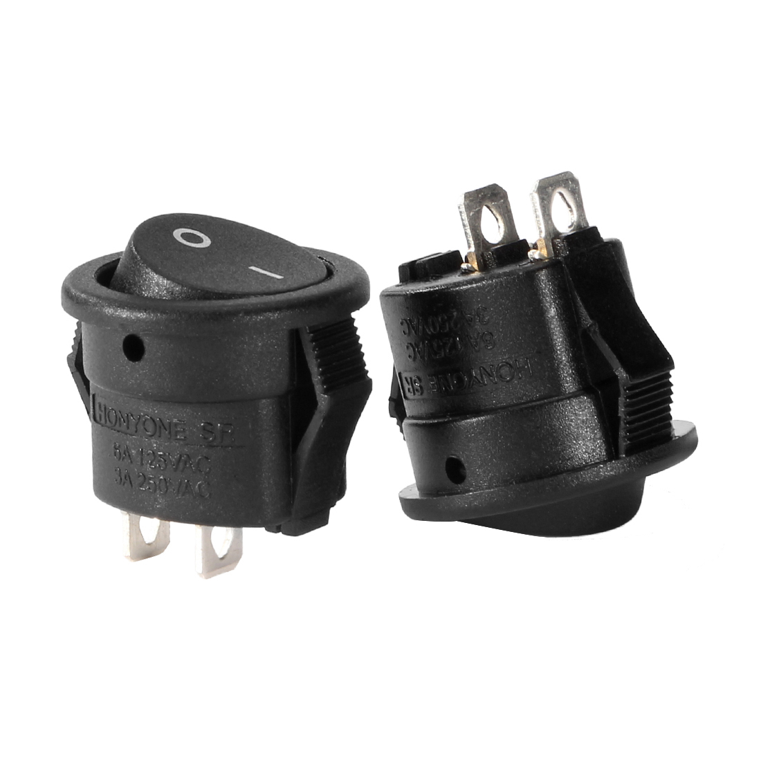 5Pcs AC 250V/3A 125V/6A 2P SPST 2 Position Round Rocker Switch Black