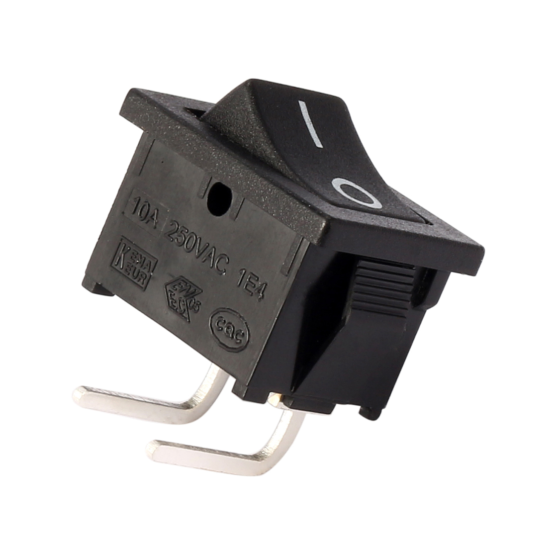 AC 125V/12A 250V/10A SPST 2P 2 Position I/O Right Angle Rocker Switch