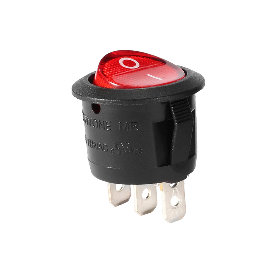 Red Lamp 3 Terminal SPST 2 Position I/O Round Button Rocker Switch