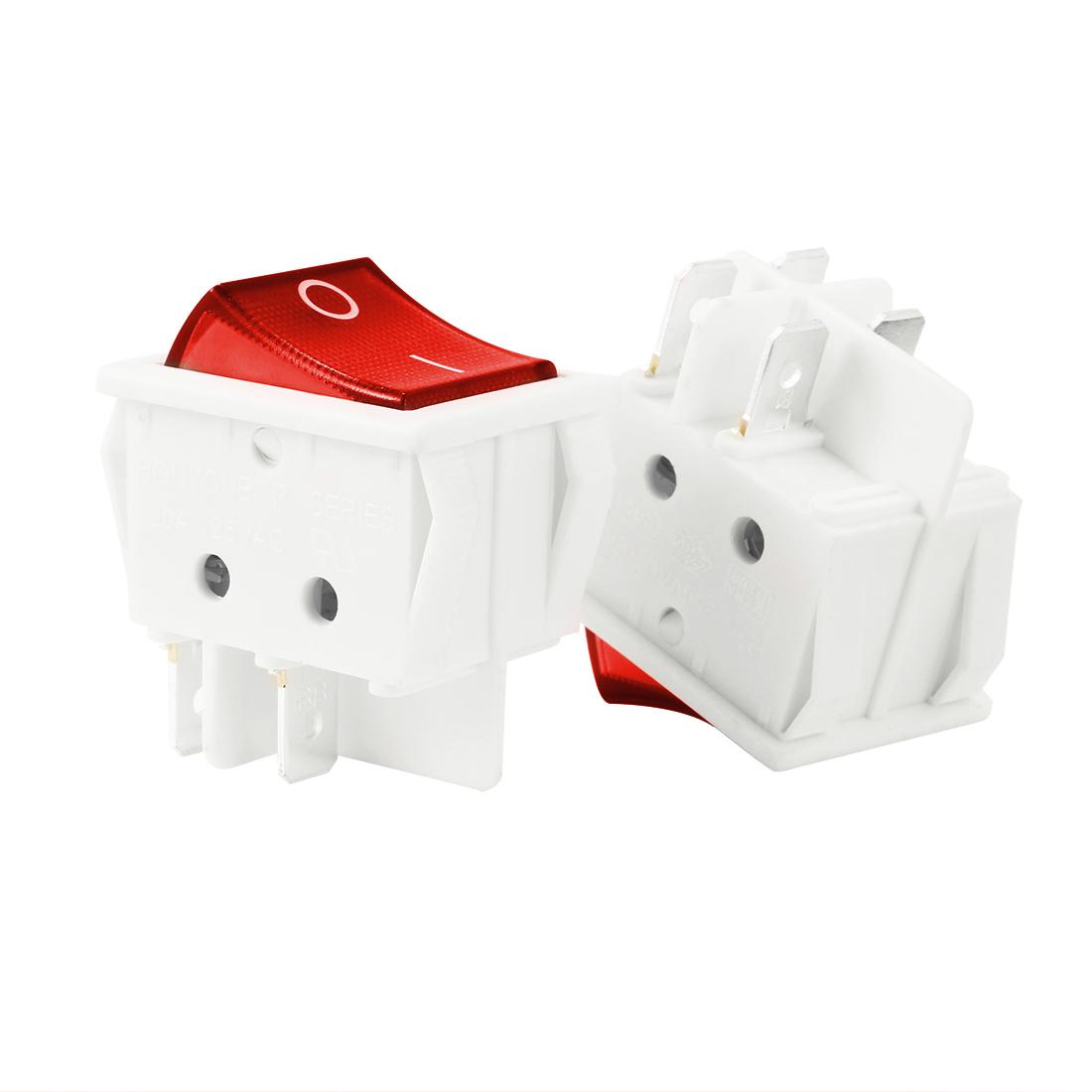 10Pcs AC 20A/125V 22A/250V DPST 4P ON/OFF Red LED Light Rocker Switch