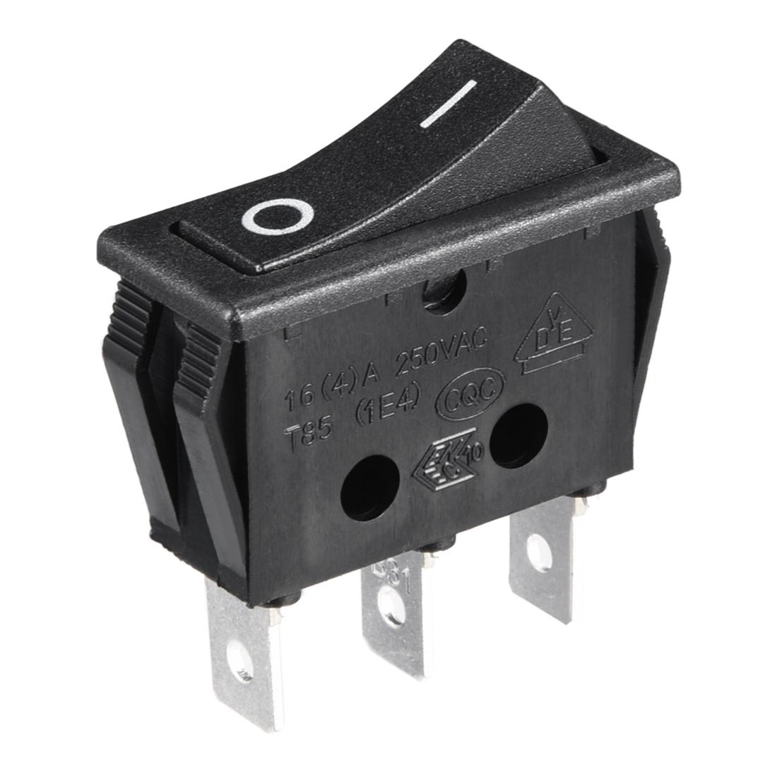 10Pcs 16A/125V 16A/250V SPDT 3 Terminal 2 Position Boat Rocker Switch