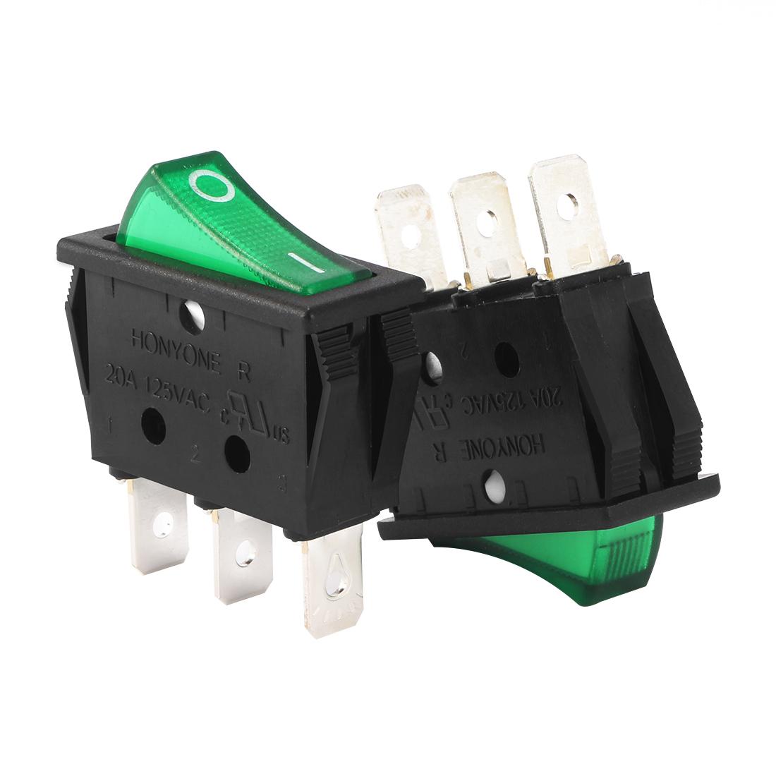AC 20A/125V 22A/250V SPST 3P 2 Position Green LED Boat Rocker Switch