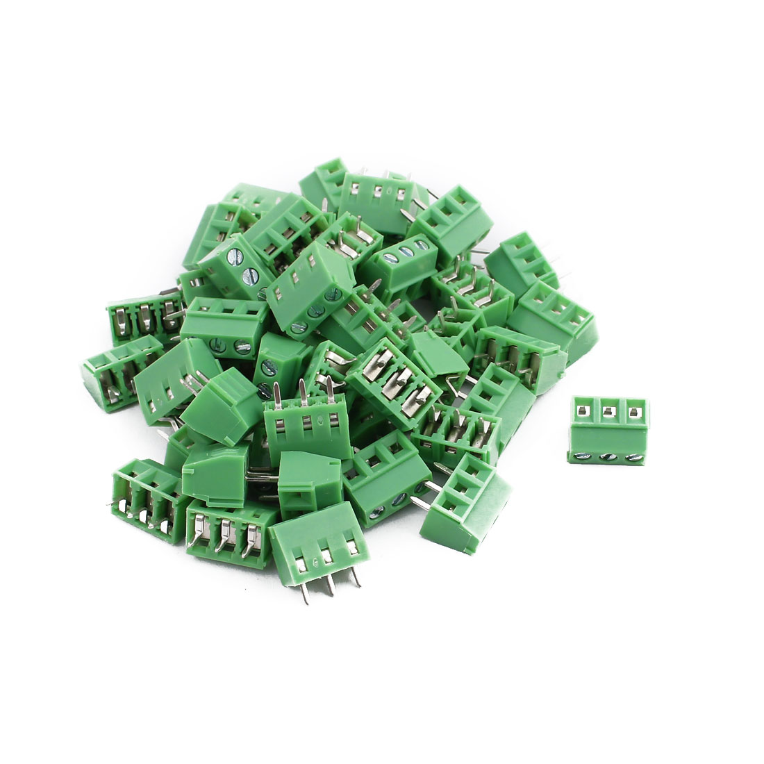50Pcs KF128 AC300V 10A 3P 3.81mm Pitch Screw Type PCB Terminal Blocks Connector