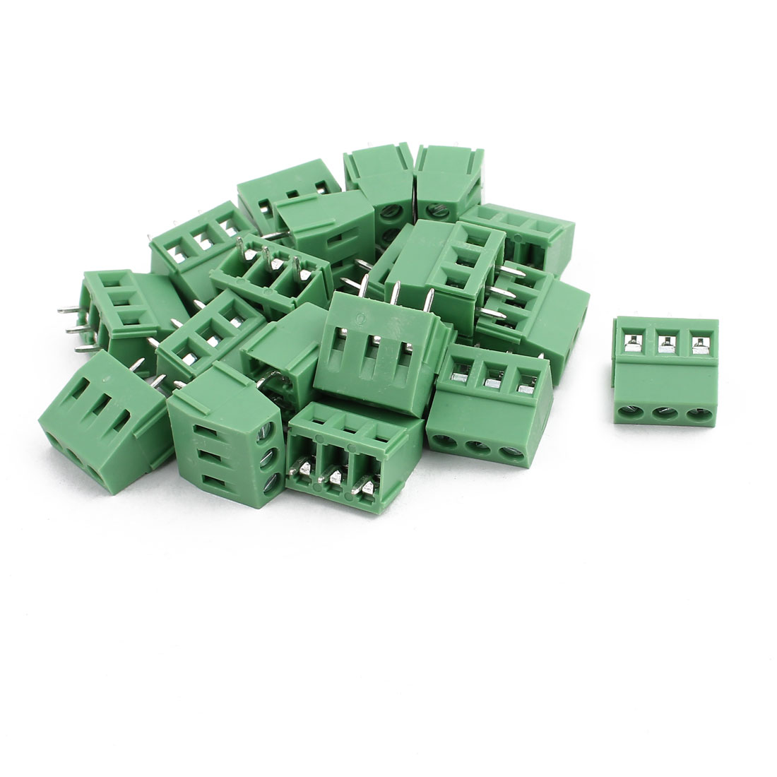 20Pcs KF128 AC300V 10A 3P 5.08mm Pitch Screw Type PCB Terminal Blocks Connector