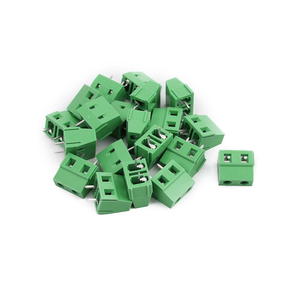 20Pcs KF128 AWG24-12 AC300V 10A 2P 7.62mm Pitch Screw PCB Terminal Blocks Green