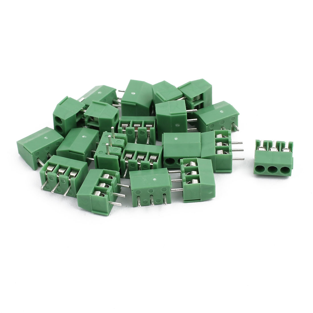 20Pcs ZB350 AC300V 10A 3P 3.5mm Pitch Screw PCB Terminal Blocks Connector Green