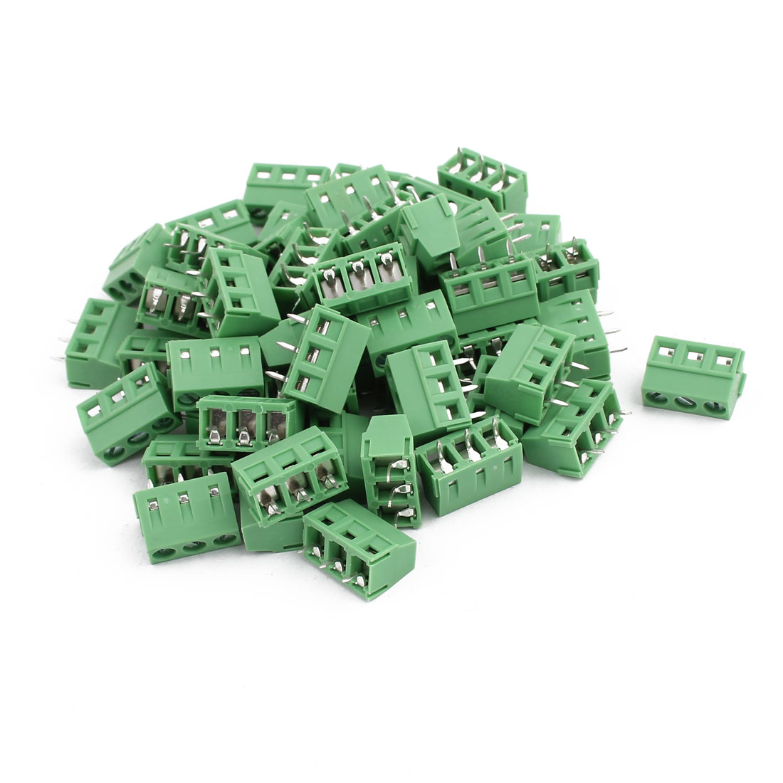 50Pcs KF127 AC300V 10A 3P 5mm Pitch Screw Type PCB Terminal Blocks Connector