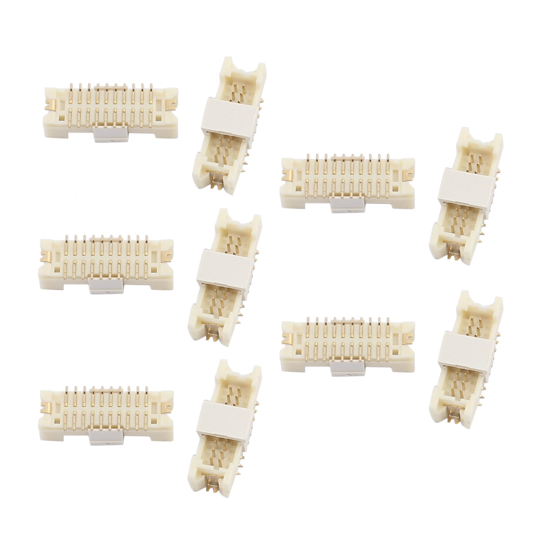 10Pcs 1.25mm Pitch Double Row 2x10Terminals Horizontal Patch DF13 Connector White