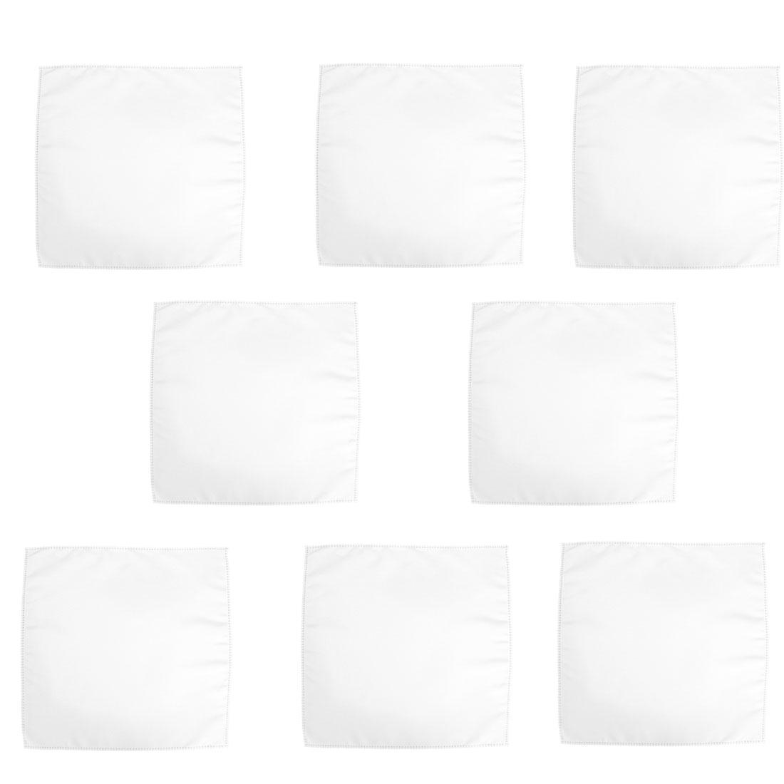 Square Table Glass Decor Placemat Dinner Cloth Napkin White 45cm x 45cm 8 Pcs