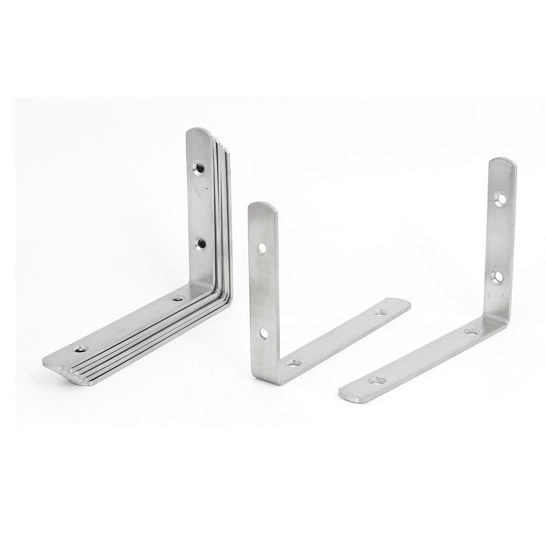 150mmx110mmx3mm Stainless Steel L Shaped Angle Brackets Shelf Supports 8pcs
