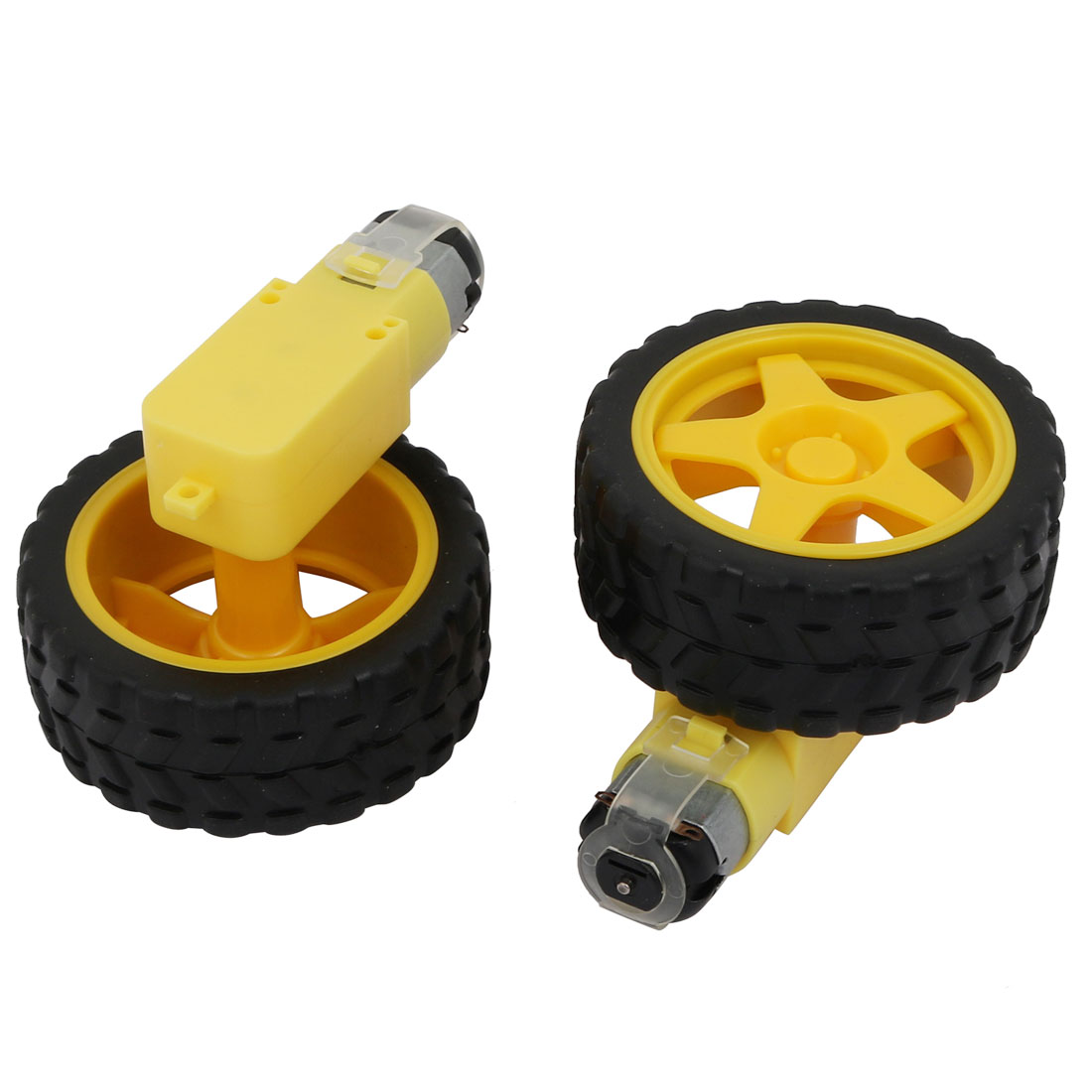 Pair of 2.5in Dia x 1in Width Plastic Tyre Wheel w DC Motor for Smart Car Robot