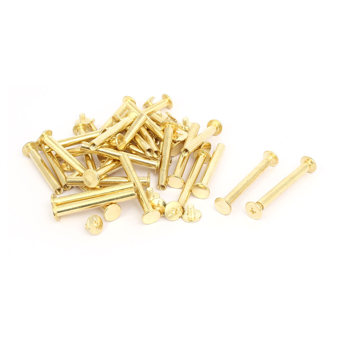 M5x40mm Binding Screw Post Gold Tone 30pcs for Photo Albums Scrapbook