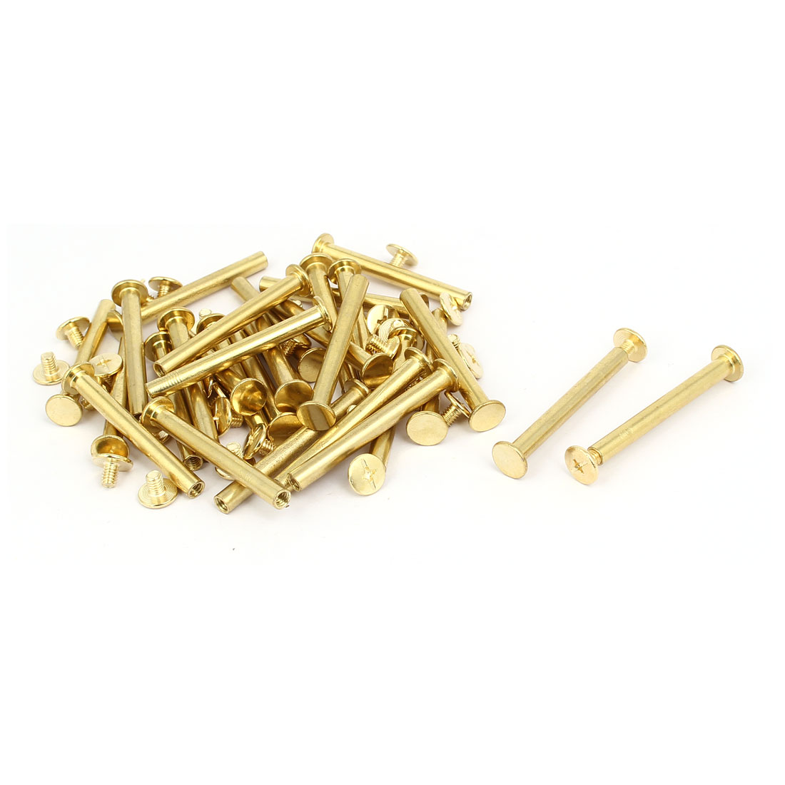M5x45mm Binding Screw Post Gold Tone 30pcs for Photo Albums Scrapbook