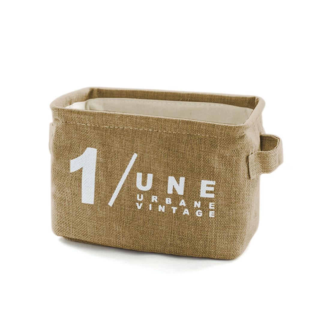 Household Number Pattern Foldable Linen Supplies Storage Bag Basket Light Brow