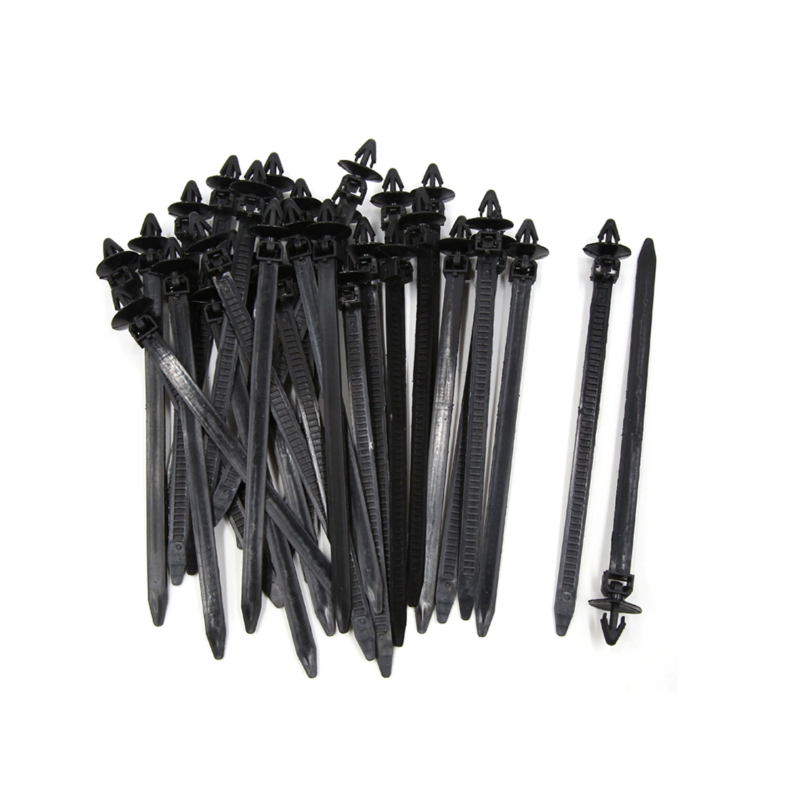 30Pcs 8mm x 175mm Plastic Push Mount Loop Cable Ties Zip Wire Fastener Black