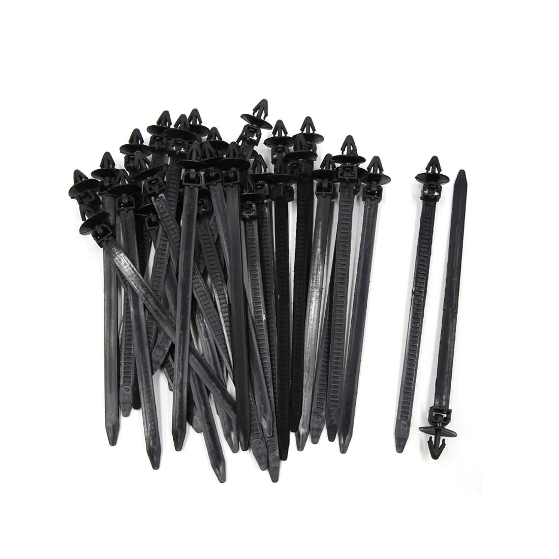 30Pcs 8mm x 175mm Plastic Push Mount Loop Cable Ties Zip Wire Fastener Black