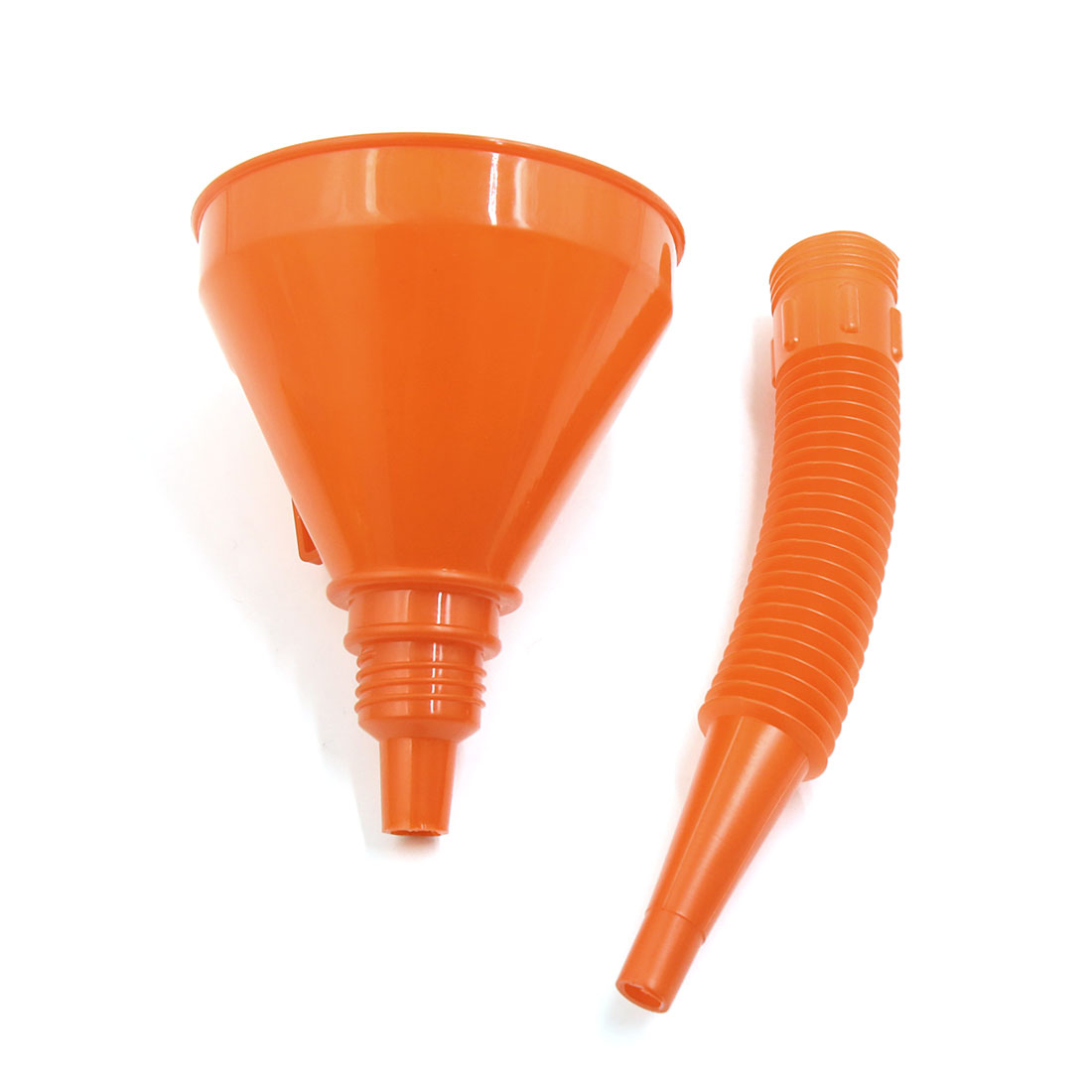 Orange Plastic Flexible Spout Filter Motorcycle Gas Oil Water Fuel Funnel
